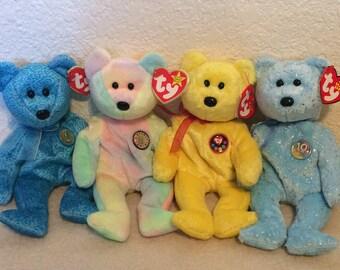 Ty Beanie Babies Bear Set Of 4- Classy, B. B. Bear, Tradee, And Decade
