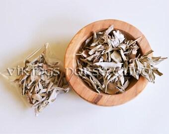 White Sage Smudge Sage Bio Loose Sacred Sage Cleansing Ritual Smudging Spiritual Herb, Wicca White Sage Incense, Holly Smoke, Purification