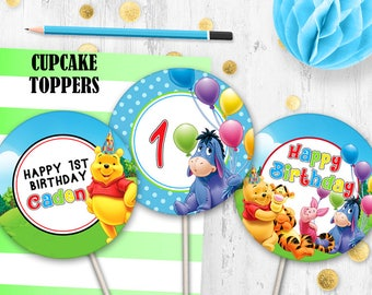Winnie the Pooh Cupcake toppers Cake toppers Birthday party decorations