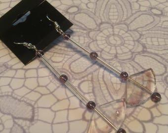 Handmade Glass Beaded Dangle Earrings  Purple with Fan Beads