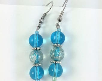 Aqua blue with clear glass middle #51