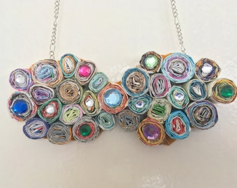 Mom birthday gift necklace - paper necklace - gift women wives jewelry - handmade necklace - color jewelry - gift for women