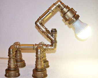 brass pipe lamp industrial desk lamp steampunk tube light rustic table lamp
