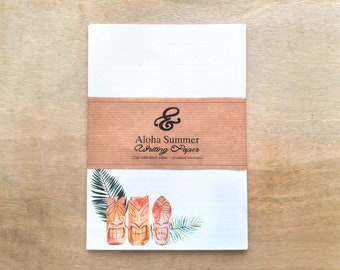 Aloha Summer eco-friendly premium tiki notepaper set with envelopes