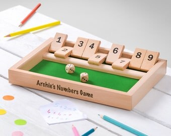 Personalised Shut the Box, Shut the Box Game, Dice Game, Maths Game, Numbers Game, Wooden Shut the Box, Educational Game