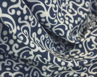 Navy White Interweaving Patterned Fabric