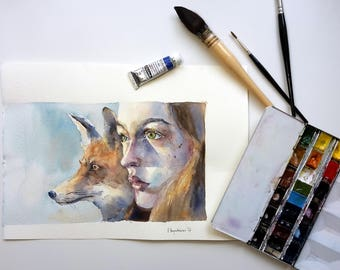 Original Art Watercolor Illustration Girl with Fox Friendship