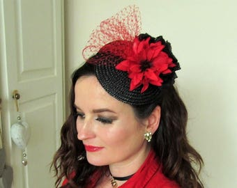 Pleasant Red Black Fascinator Etsy Uk Hairstyle Inspiration Daily Dogsangcom