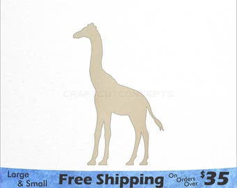 Giraffe Shape - African Wildlife - Large & Small - Pick Size - Laser Cut Unfinished Wood Cutout Shapes (SO-0125)