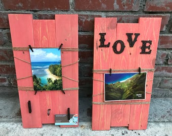Foto display,Wall decor,Wood decor,Rope decor,Love sign decor,Set of 2