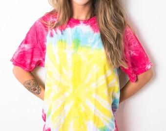 Pink Blue Yellow Twist Spiral Tie Dye T-Shirt Ladies