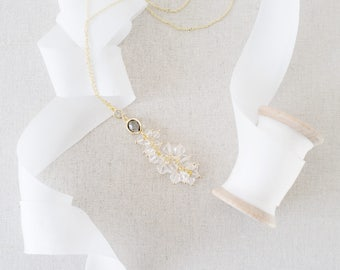 Modern Necklace, Gold Necklace, Necklace, Crystal Necklace, Beaded Necklace, Bridal Jewellery, Bridal Necklace, Bridesmaids gift - Sarah