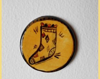 Ceramic cute brooch of a cute sock with a diamond design