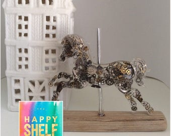 Steampunk Carousel Horse Driftwood Art Alternative Baby Gift Home Ornament Upcycled Cogs Gears And Watch Parts