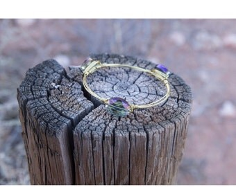 Purple Raindrops Gold Bangle