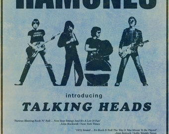 The Ramones 1975 CBGB  Concert POSTER   with Talking Heads