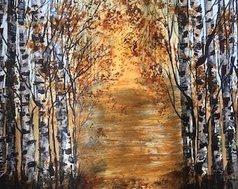 Golden sun through the forest