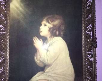 Vintage Child in Prayer-Bow front glass frame 18x24 Italian