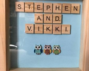 Scrabble Tiles Name Frame