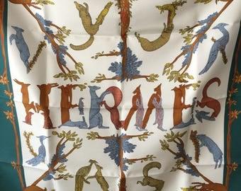 Hermes Scarf Annie Faivre Alphabet III 90cm New in Box, Hemes Silk Scarf, Designer Scarf,  Hermes Shawl, Rare Hermes Scarf