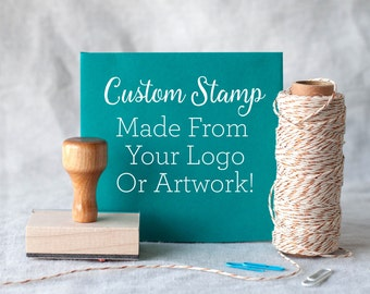 """Custom rubber stamp from your logo or artwork - custom logo stamp - custom packaging stamp - custom size stamp 1x1"""" 2x2"""" 3x3"""" 1x2"""" 2x4"""""""