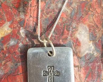 Pewter Cross charm on a sterling silver necklace