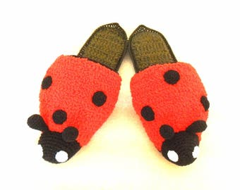 Crochet Slippers Ladybug Mothers Day Gift, house slippers. Non slip sole.Easter Gift.