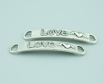 50pcs 39X7mm Antique Silver Love Charm Pendants,Love Connectors,Heart Charm Pendants,Letter Charms Pendants Connectors Z1068