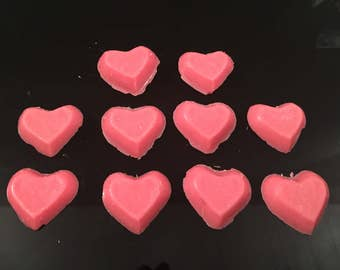 20 Small Love Heart Shaped Wax Melts In Over 60 Scent Choices