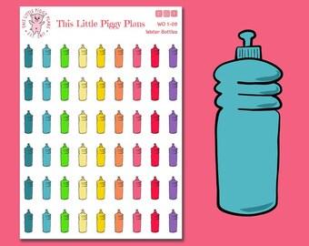 Water Bottles Planner Stickers - Water Bottles - Planner Stickers - Hydrate Stickers - Water Stickers - [WO 1-09]