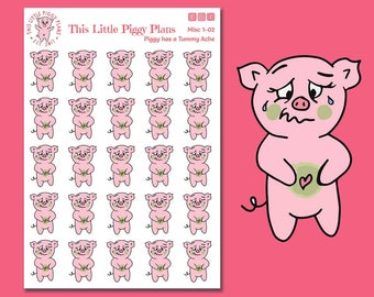 Sick Day Planner Stickers - Feeling Sick Stickers - Planner Stickers - Tummy Ache - Belly Ache - [Misc 1-02]