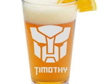 Transformers Autobot, Personalized Glass- Themed Pint Glasses-Beer Glass