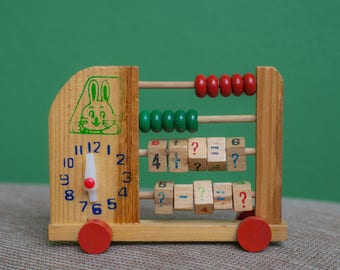 Wooden abacus, Vintage addition subtraction, children clock, abacus, child distraction, vintage game, wooden toy