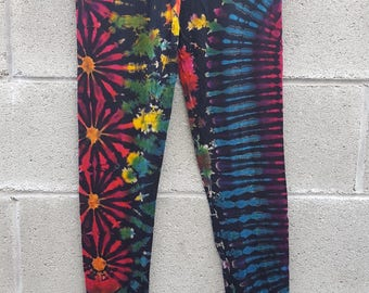 Tie dye spandex yoga legging XL black rainbow color NWT