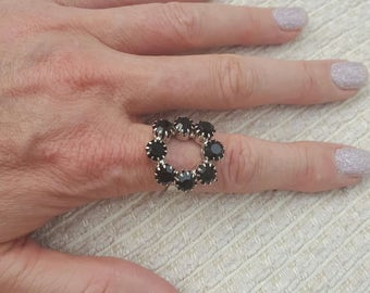 Silver ring with black or mauve crystals, adjustable