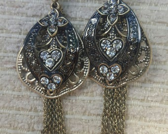 Gold and bronze dangly earrings for pierced ears