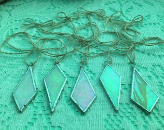 Geometric opalescent stained glass pendant