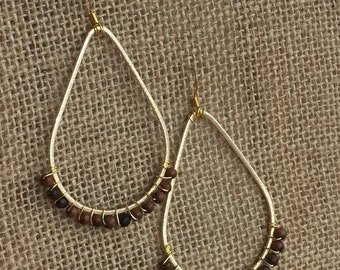 Gold Wire Wrapped Teardrop Earrings with Brown Wooden Beads