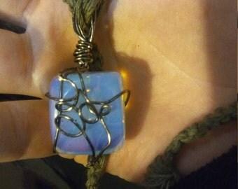 silver wrap moonstone hemp necklace