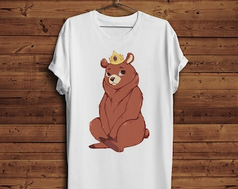 Prince King Cute Worried Teddy Bear Grizzly With The Crown T-shirt