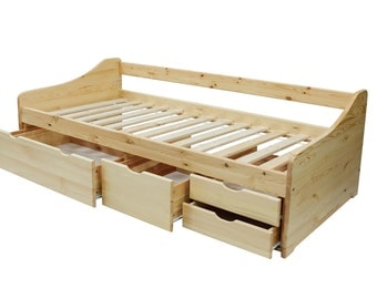Children bed 90 x 200 feature sofa bed solid wood bunk bed natural