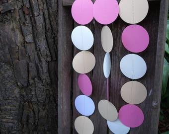 Pink garland, Ivory garland, Pink weddings garland, Pink party decorations, Pink bridal shower, Pink baby shower, Paper garland, Ivory decor