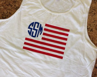 Patriotic Flag with Initials Tank Top