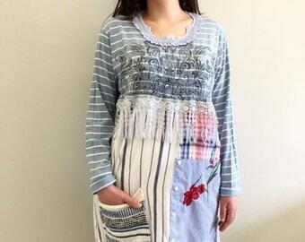 Boho Clothing, Upcycled Clothing, Patchwork Gypsy Clothing, Upcyled Recycled Repurposed Clothing, Handmade Womens Clothing Top Tunic Dresses