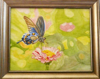 "Framed original watercolor California Monarch butterfly, 14"" x 17"""