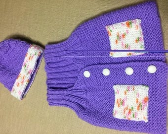 Hand knitted baby girl vest & hat