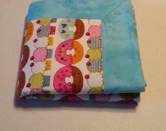 Baby/Receiving Blanket, Blue, Donuts