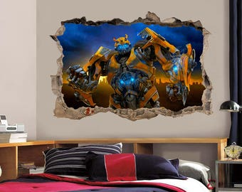 BUMBLEBEE Transformers Smashed Wall 3D Decal Graphic Wall Sticker H147