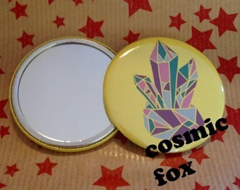 Cosmic Crystal Pocket Mirror