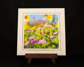 Wood Frame Asters and Sunflowers Photo Serving Trivet